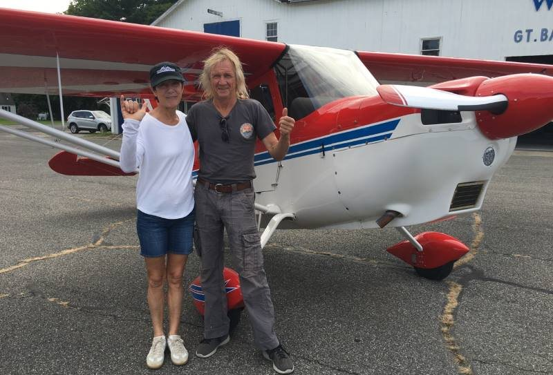 Bush Air - Advanced flying course. CC Pocock with Kathleen Jacobs and her Citabria after completing the Advanced Flying Course