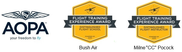 AOPA Flight Experience Awards 2018. Bush Air was awarded Distinguished Flight school and CFI Milne